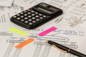 calculator and financial worksheet for taxes