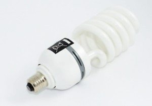 LED light bulb on a white surface