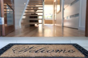 a new welcome mat and open front door