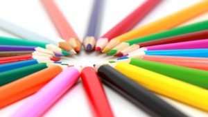 sharpened colored pencils in a circle
