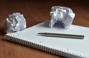 notepad with wadded paper