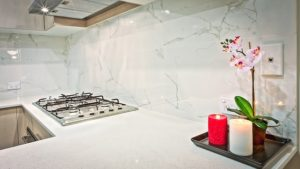 Granite kitchen countertops that are free of any clutter and appliances.