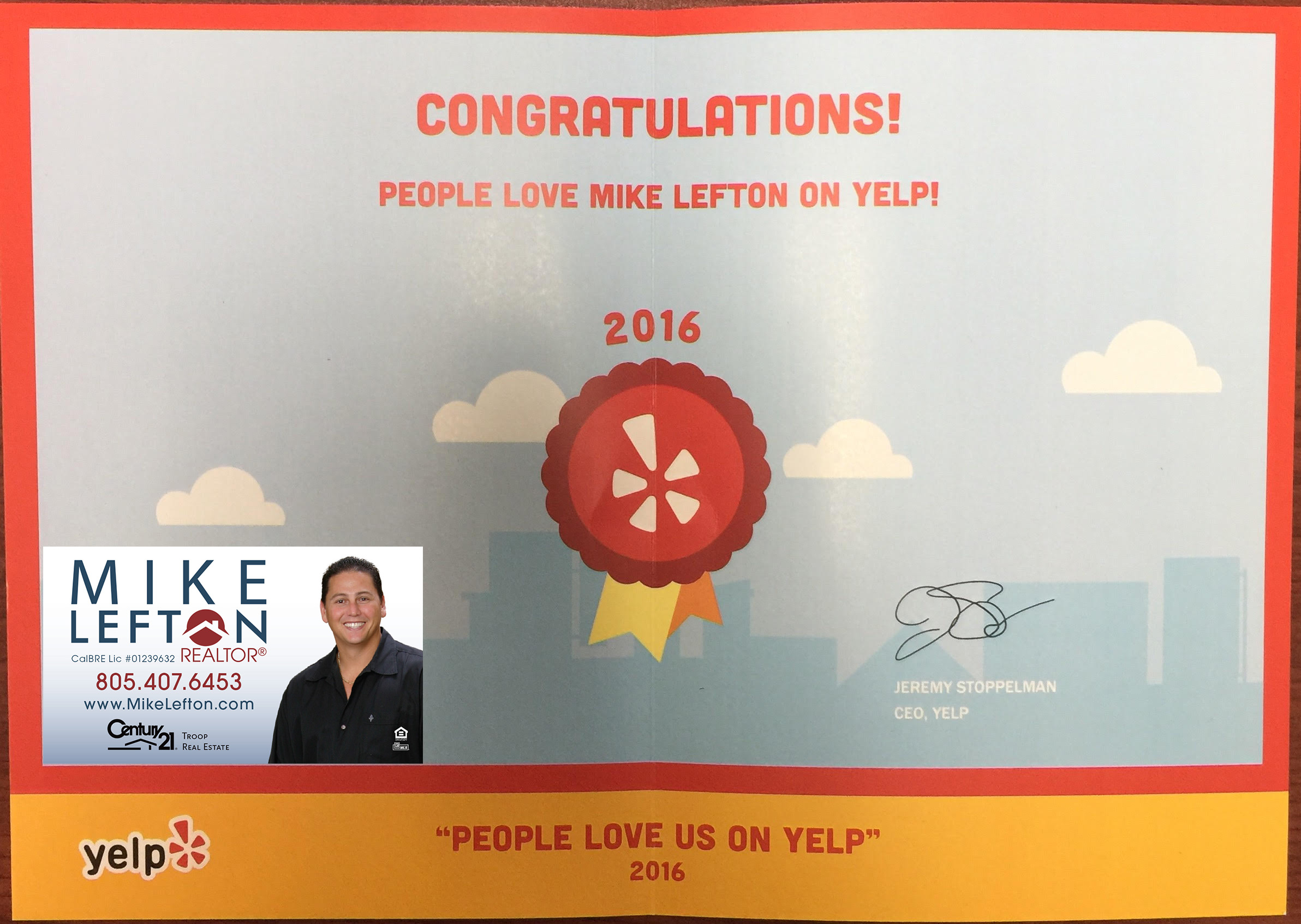Mike Lefton yelp review award