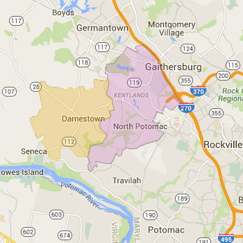 Zip Code Map for North Potomac and Darnestown