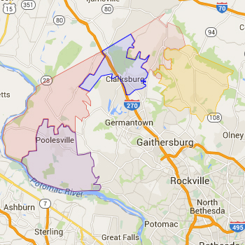 Zip Code Map for Clarksburg and the Ag Reserve