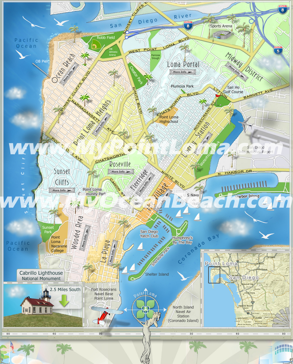 Map of Point Loma & Ocean Beach Neighborhoods