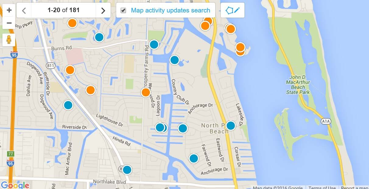 North Palm Beach Map Search for Homes