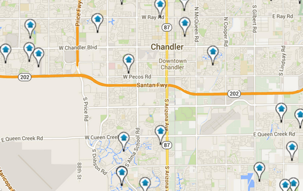 Map of Chandler homes for sale