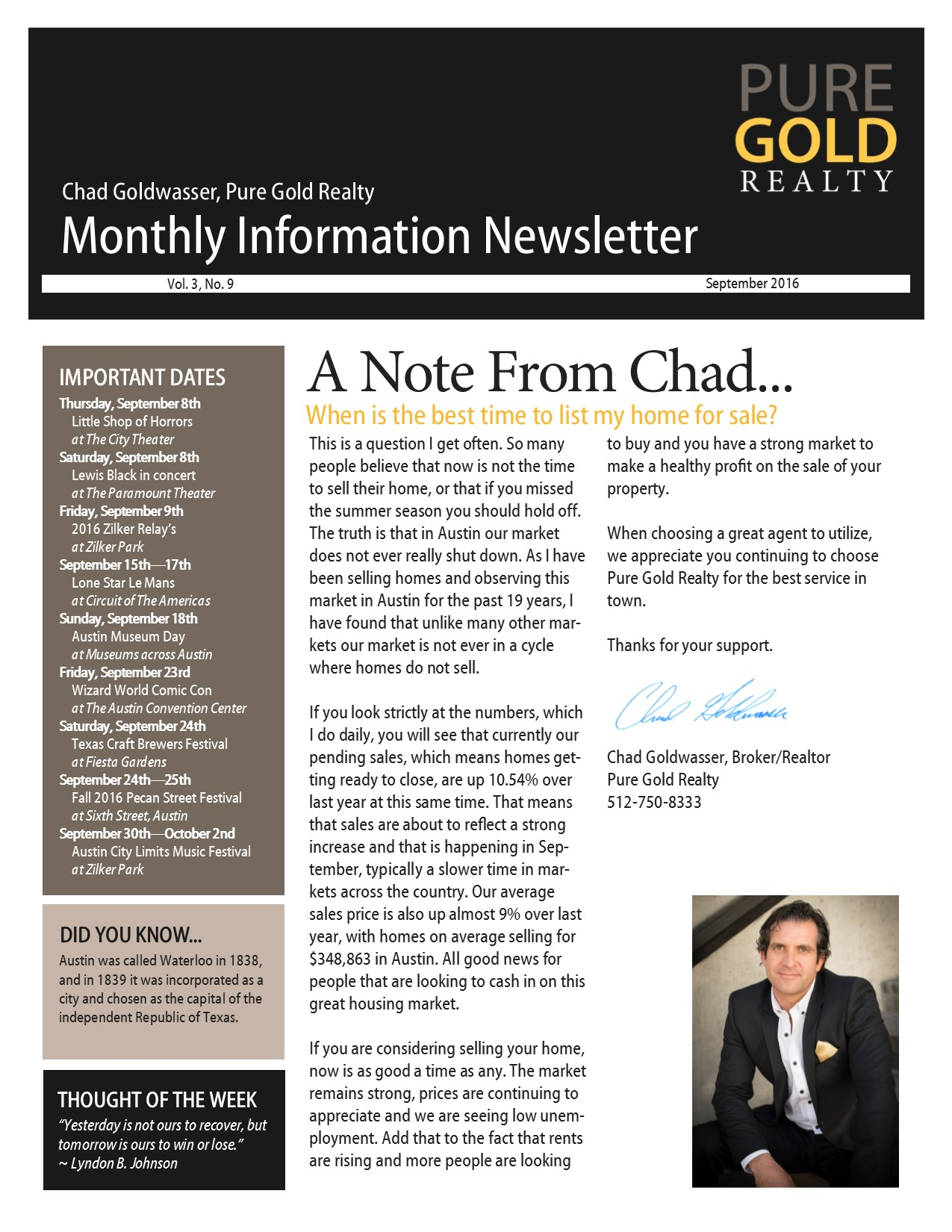 September 2016 Newsletter page 1