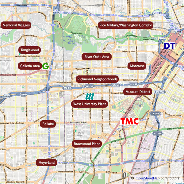 Central Houston Neighborhoods near Galleria, Texas Medical Center and downtown