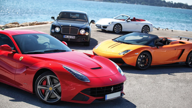 Luxury sports cars in Pebble Beach