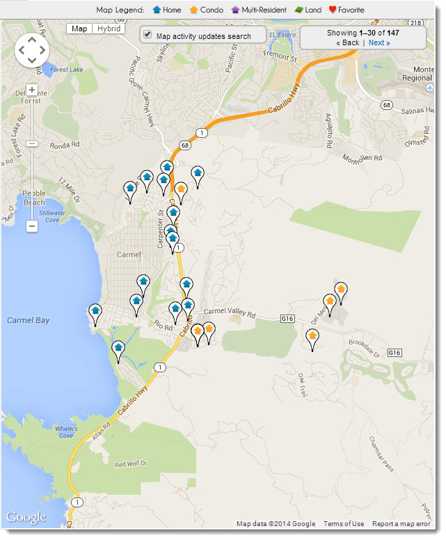 Search Carmel Real Estate on a map