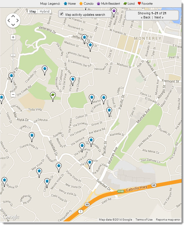 Peters Gate - Monte Rogio Neighborhood Real Estate Map in Monterey, CA