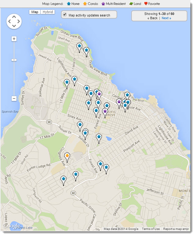 Pacific Grove Real Estate map