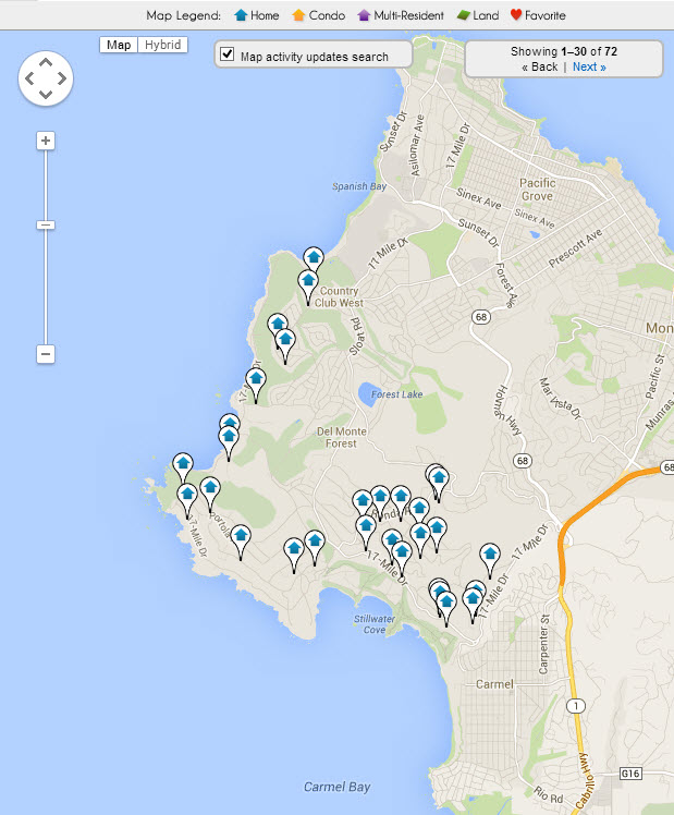 Map of Pebble Beach Luxury Real Estate