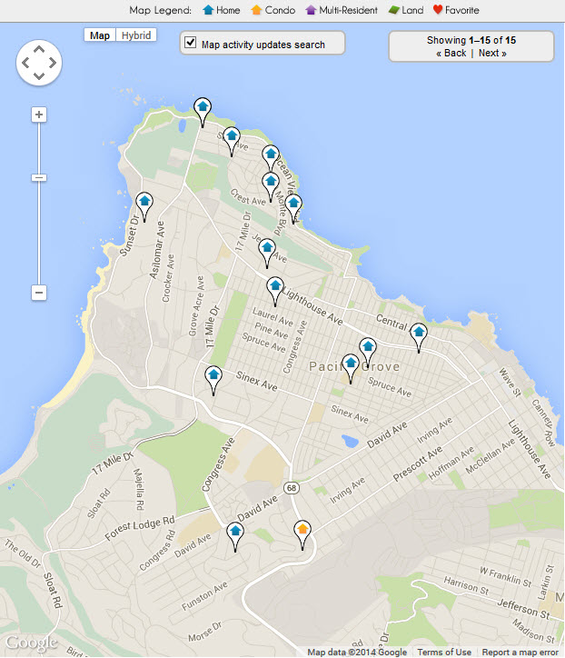 Pacific Grove Ocean View Real Estate Map