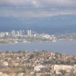 Downtown Bellevue between Lake Washington and the Cascade Mountains