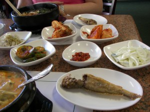 Korean Tofu Soup, Bibimbap, and side dishes