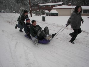 Kids at play in the snow