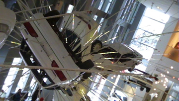 sculpture hanging in lobby gallary...automobile fusion?