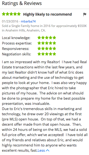 Eric Transue Zillow Reviews