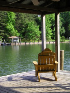 Adirondack chair on Lake Norman dock