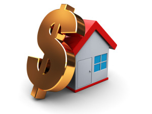 abstract 3d illustration of house and dollar sign