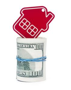 red home sign on hundred dollar bills. Real Estate business Conc