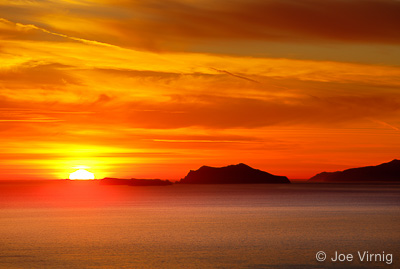Sun setting behind Anacapa Island