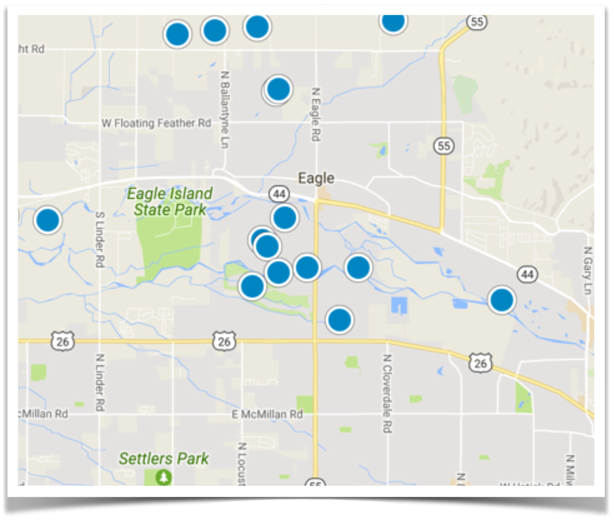 Search all homes for sale in Eagle, Idaho by Map