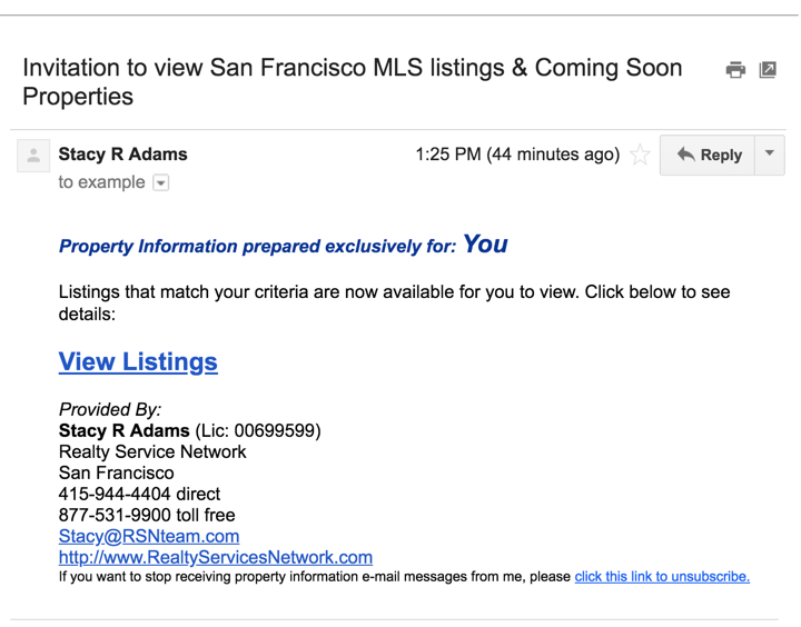 Invitation to View San Francisco MLS direct