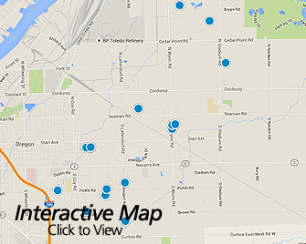 Interactive Map of Oregon Ohio Area Homes for Sale