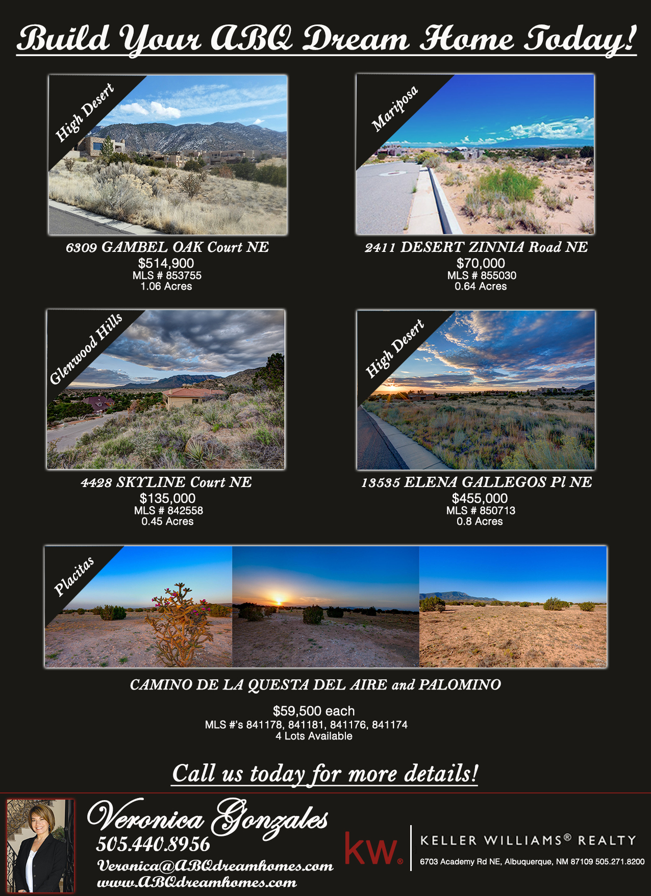 Albuquerque lots for sale located in Placitas, High Desert, Mariposa and Glenwood Hills