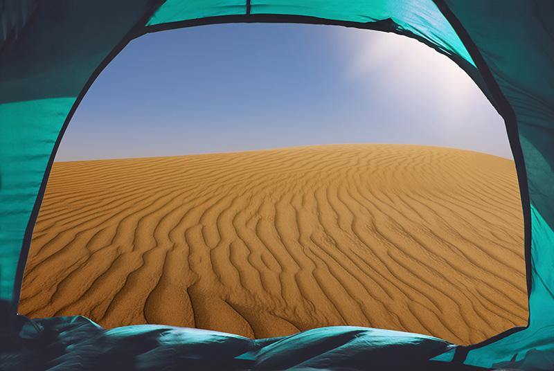 Camping at Base of Sahara Desert Sand Dunes