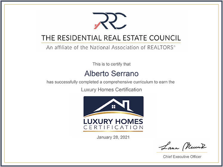 CRS Luxury Homes Certificate