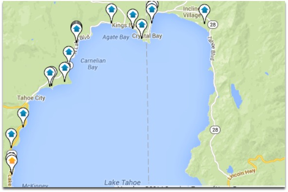 Lake Tahoe Lakefront Homes Map Search