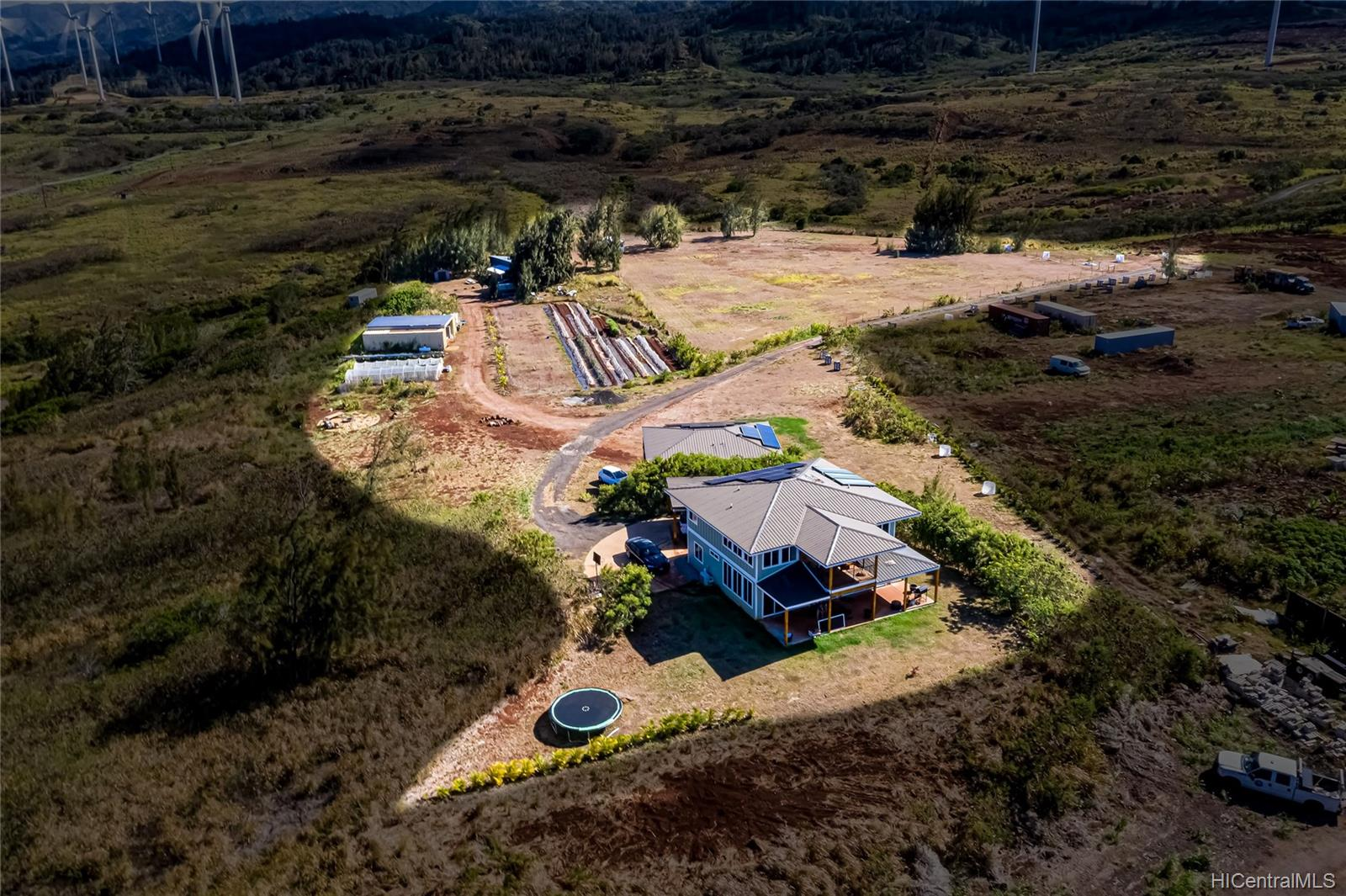 aerial view of north shore kahuku house