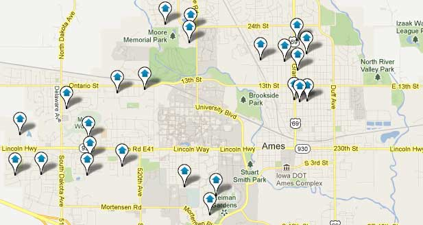 Ames Iowa Real Estate Map Search