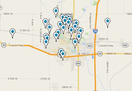 Ames Homes for Sale Map Search Results