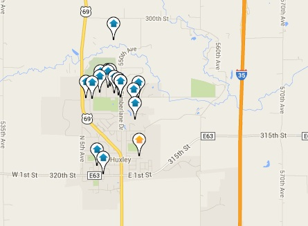 Huxley Homes for Sale Map Search Results