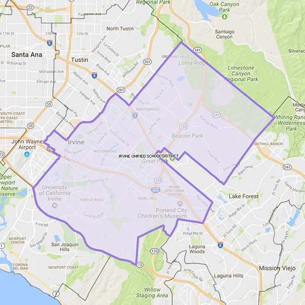 Irvine Unified School District map