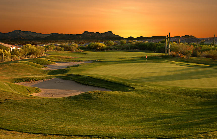 golf course at sun down