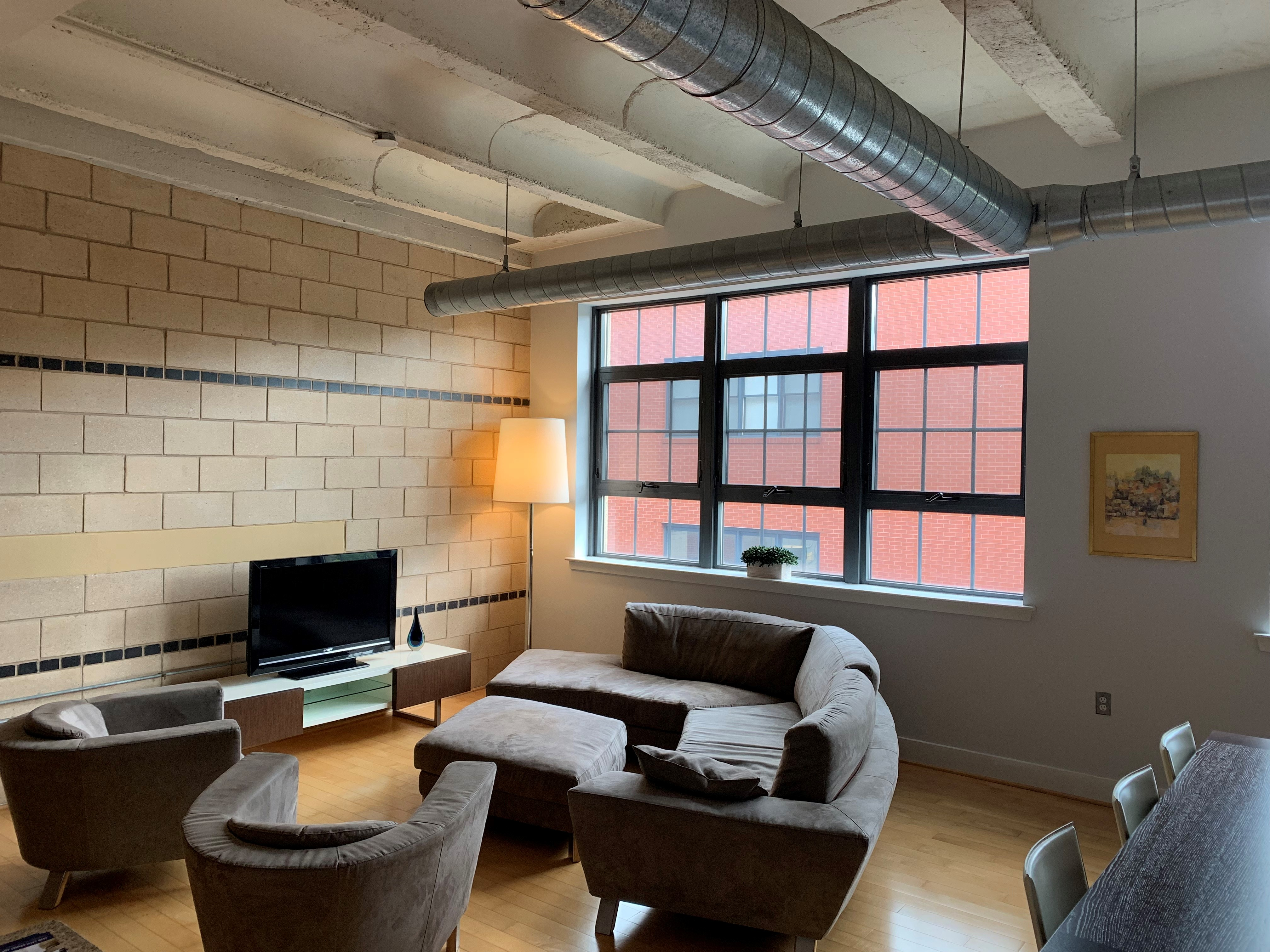 Washington, DC Lofts For Sale. Artyom Shmatko Realtor. Washington, DC Lofts For Sale. Exposed Ducts, Beams. Industrial detail. Concrete and wood floors. Modern Condos