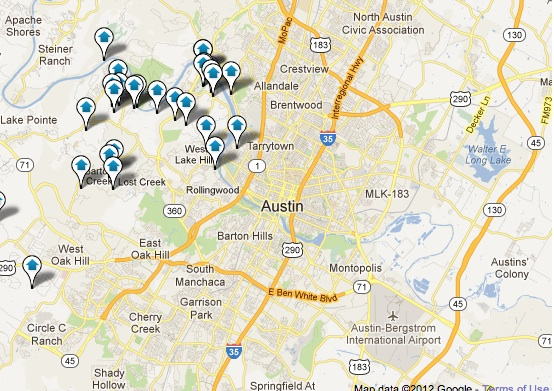 Central Austin, TX area Homes with Pool Map Search
