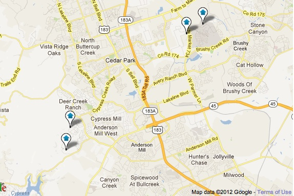 Cedar Park Luxury Homes Map