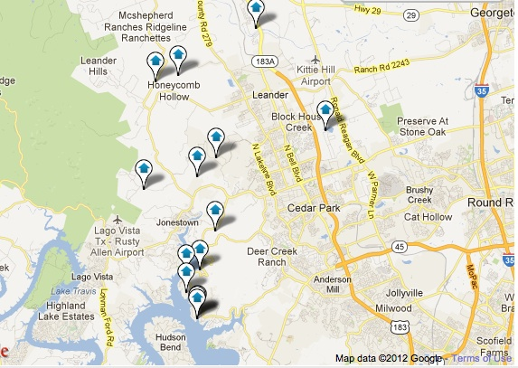 Leander Luxury Homes Map