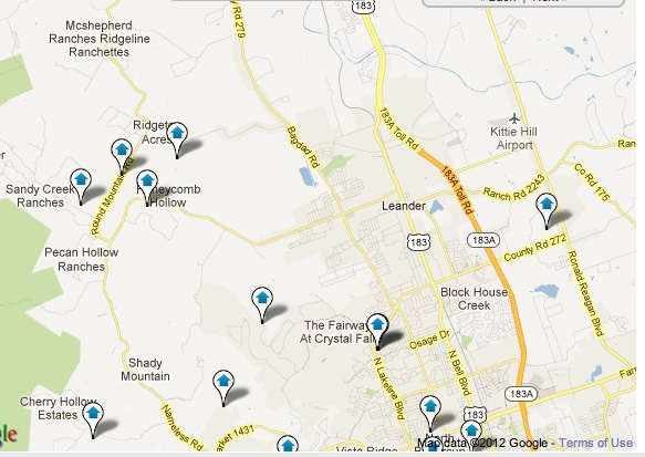 Leander, TX Homes with Pool Map Search