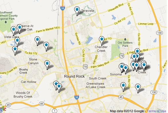 Round Rock Homes with Pool Map