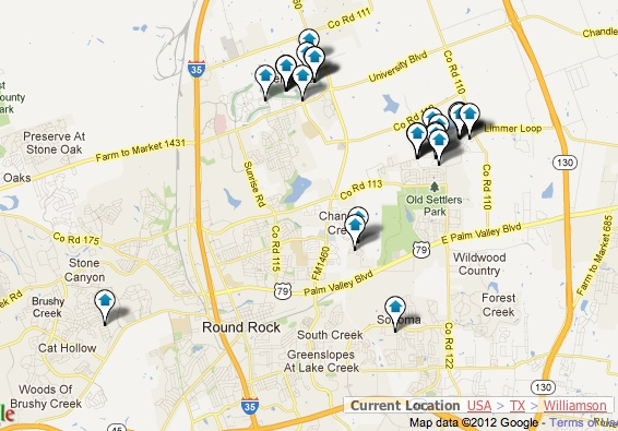 Round Rock New Homes Map