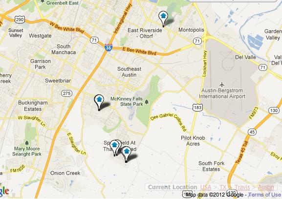 Southeast Austin New Homes Map